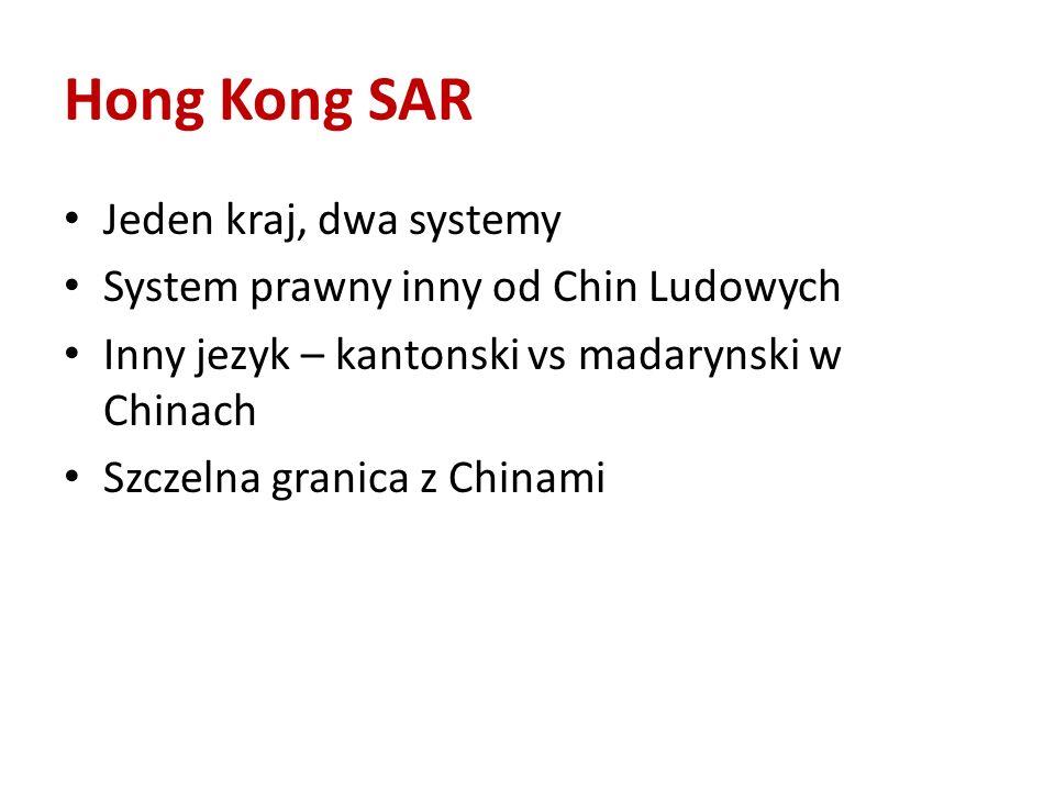 Hong Kong SAR Jeden kraj, dwa systemy System prawny inny od Chin Ludowych Inny jezyk – kantonski vs madarynski w Chinach Szczelna granica z Chinami