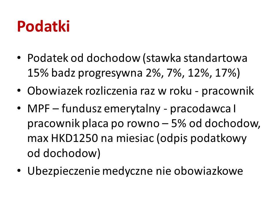 Podatki Podatek od dochodow (stawka standartowa 15% badz progresywna 2%, 7%, 12%, 17%) Obowiazek rozliczenia raz w roku - pracownik MPF – fundusz emer