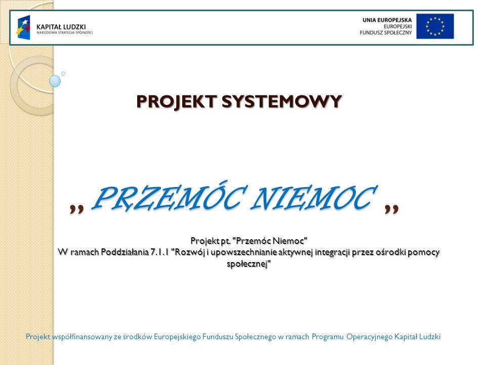 PRZEMÓC NIEMOC PRZEMÓC NIEMOC PROJEKT SYSTEMOWY Projekt współfinansowany ze środków Europejskiego Funduszu Społecznego w ramach Programu Operacyjnego Kapitał Ludzki Projekt pt.