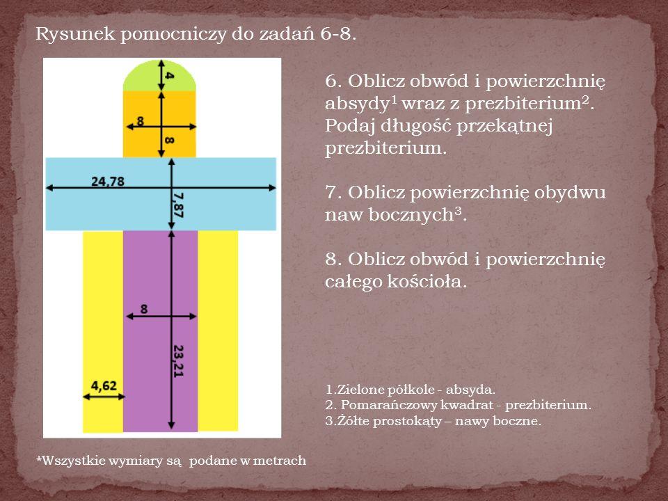 Rysunek pomocniczy do zadań 6-8. *Wszystkie wymiary są podane w metrach 6. Oblicz obwód i powierzchnię absydy 1 wraz z prezbiterium 2. Podaj długość p