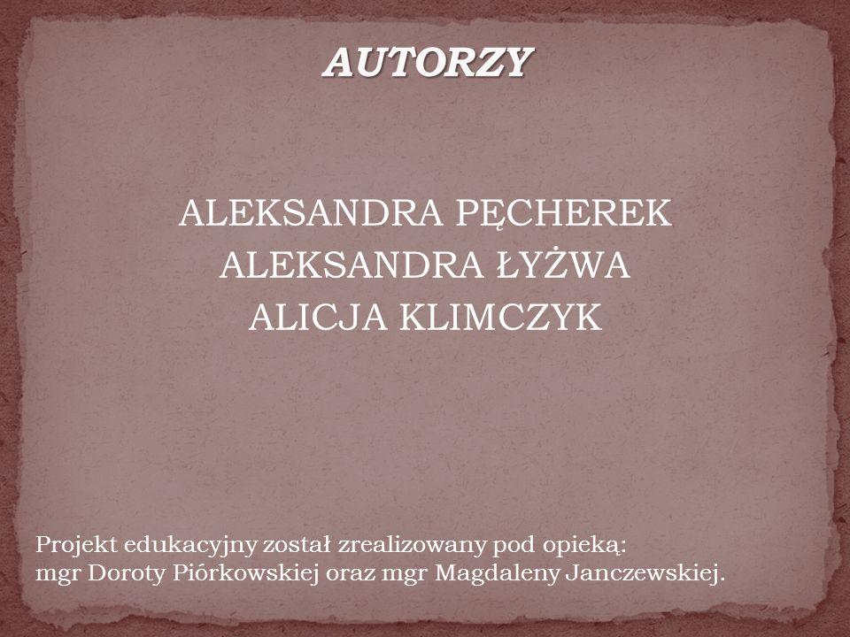ALEKSANDRA PĘCHEREK ALEKSANDRA ŁYŻWA ALICJA KLIMCZYK Projekt edukacyjny został zrealizowany pod opieką: mgr Doroty Piórkowskiej oraz mgr Magdaleny Janczewskiej.