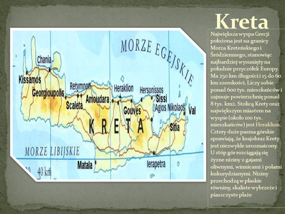Największa wyspa Grecji położona jest na granicy Morza Kreteńskiego i Śródziemnego, stanowiąc najbardziej wysunięty na południe przyczółek Europy. Ma