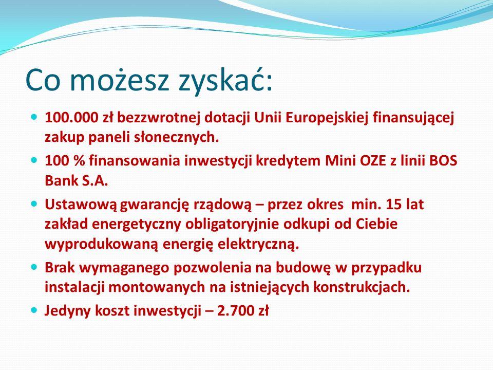 Co możesz zyskać: 100.000 zł bezzwrotnej dotacji Unii Europejskiej finansującej zakup paneli słonecznych. 100 % finansowania inwestycji kredytem Mini