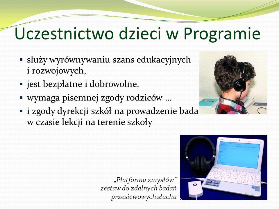 Uczestnictwo dzieci w Programie służy wyrównywaniu szans edukacyjnych i rozwojowych, jest bezpłatne i dobrowolne, wymaga pisemnej zgody rodziców … i zgody dyrekcji szkół na prowadzenie badań w czasie lekcji na terenie szkoły Platforma zmysłów – zestaw do zdalnych badań przesiewowych słuchu