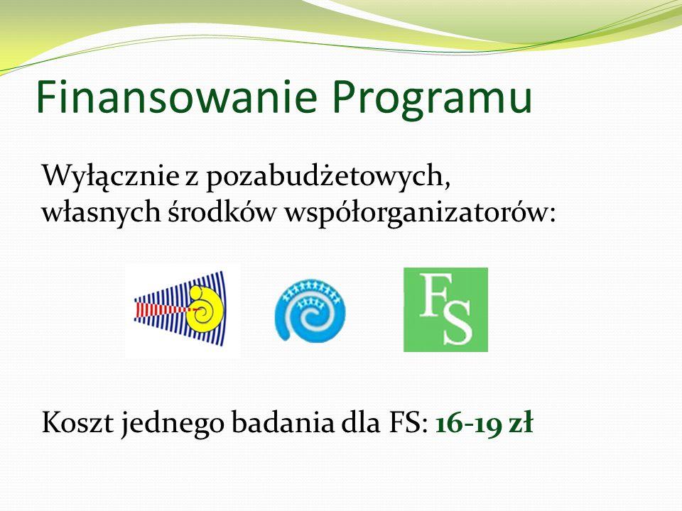 Finansowanie Programu Wyłącznie z pozabudżetowych, własnych środków współorganizatorów: Koszt jednego badania dla FS: 16-19 zł