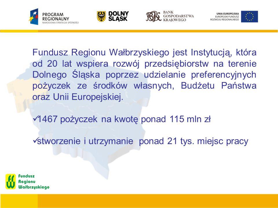 Fundusz Regionu Wałbrzyskiego jest Instytucją, która od 20 lat wspiera rozwój przedsiębiorstw na terenie Dolnego Śląska poprzez udzielanie preferencyj