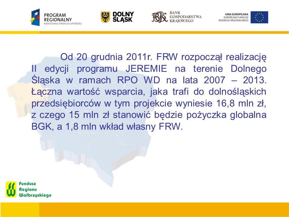 Od 20 grudnia 2011r. FRW rozpoczął realizację II edycji programu JEREMIE na terenie Dolnego Śląska w ramach RPO WD na lata 2007 – 2013. Łączna wartość