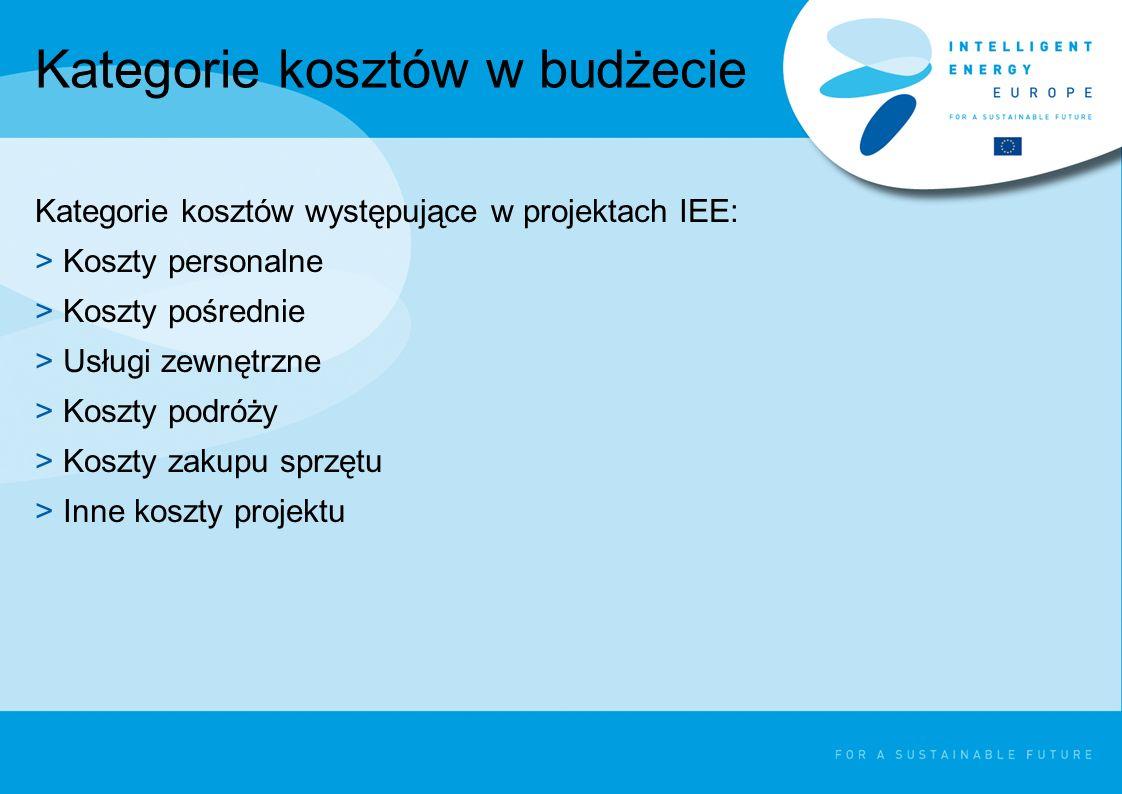 Kategorie kosztów w budżecie Kategorie kosztów występujące w projektach IEE: >Koszty personalne >Koszty pośrednie >Usługi zewnętrzne >Koszty podróży >