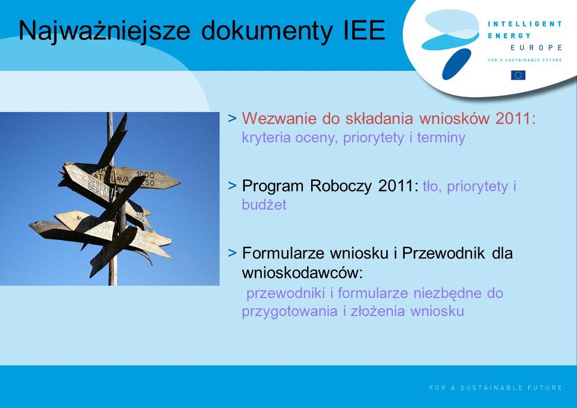 Najważniejsze dokumenty IEE >Wezwanie do składania wniosków 2011: kryteria oceny, priorytety i terminy >Program Roboczy 2011: tło, priorytety i budżet