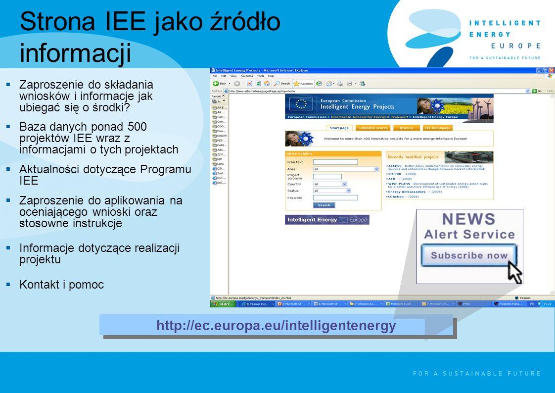 Strona IEE jako źródło informacji Zaproszenie do składania wniosków i informacje jak ubiegać się o środki? Baza danych ponad 500 projektów IEE wraz z