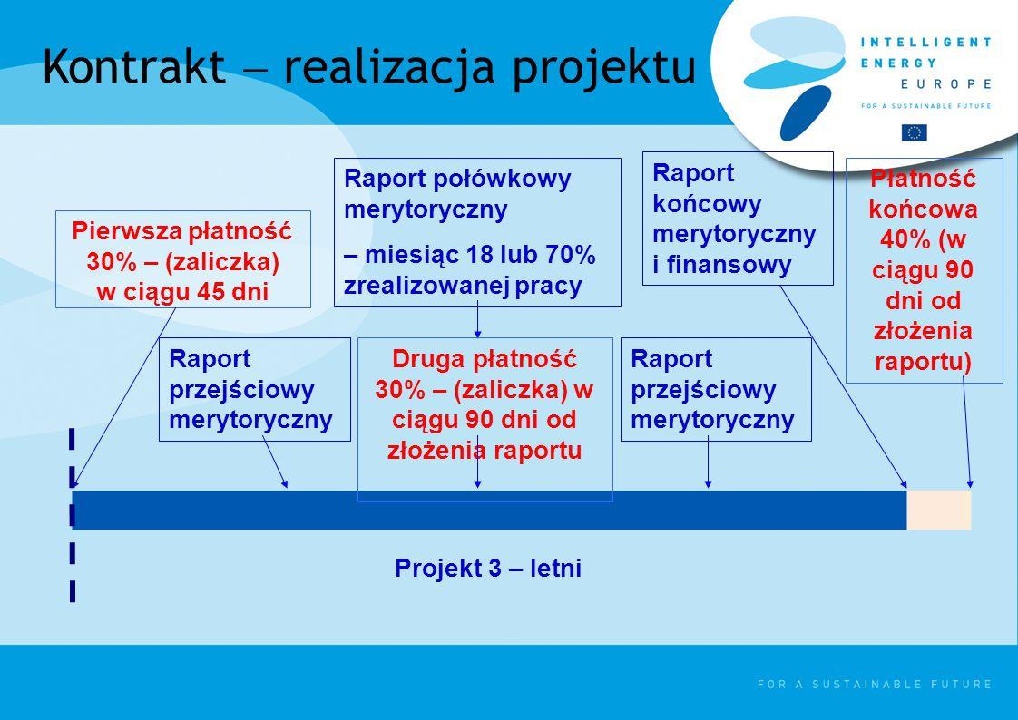 Kontrakt realizacja projektu Pierwsza płatność 30% – (zaliczka) w ciągu 45 dni Raport przejściowy merytoryczny Raport połówkowy merytoryczny – miesiąc