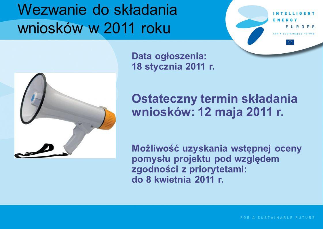Wezwanie do składania wniosków w 2011 roku Data ogłoszenia: 18 stycznia 2011 r. Ostateczny termin składania wniosków: 12 maja 2011 r. Możliwość uzyska