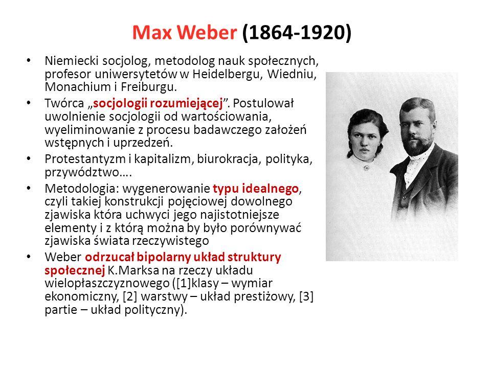 Max Weber (1864-1920) Niemiecki socjolog, metodolog nauk społecznych, profesor uniwersytetów w Heidelbergu, Wiedniu, Monachium i Freiburgu. Twórca soc
