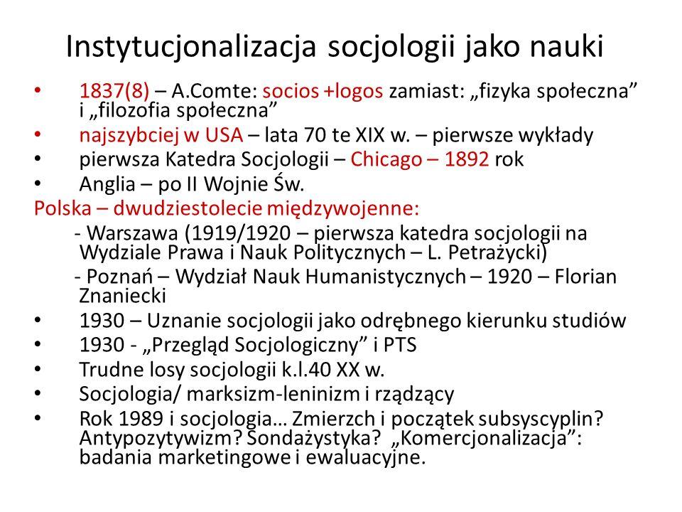 Instytucjonalizacja socjologii jako nauki 1837(8) – A.Comte: socios +logos zamiast: fizyka społeczna i filozofia społeczna najszybciej w USA – lata 70 te XIX w.