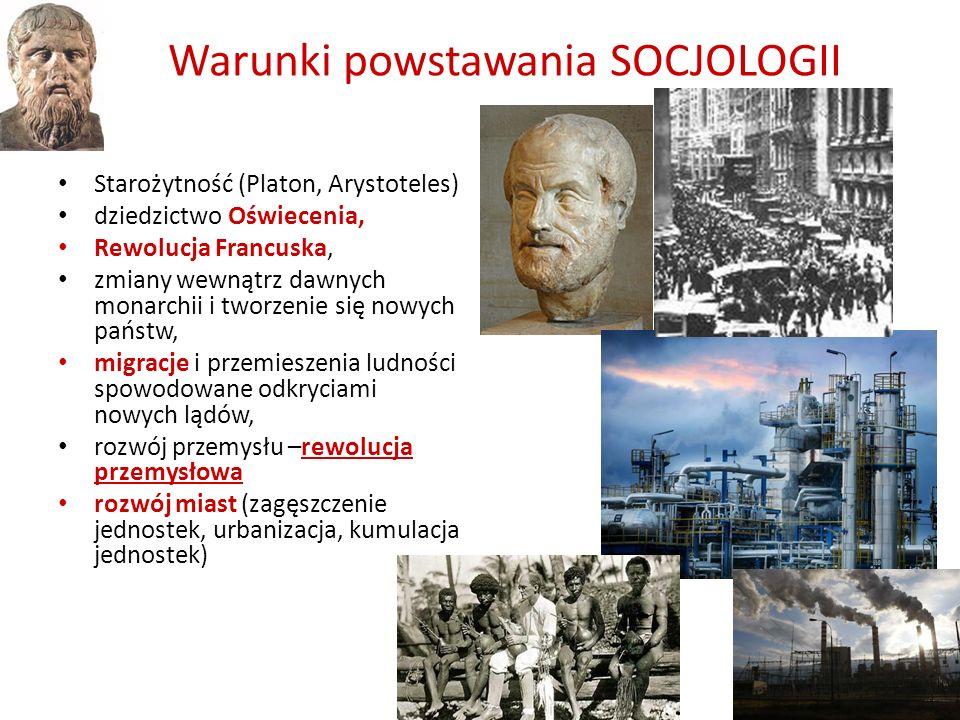 Warunki powstawania SOCJOLOGII Starożytność (Platon, Arystoteles) dziedzictwo Oświecenia, Rewolucja Francuska, zmiany wewnątrz dawnych monarchii i two