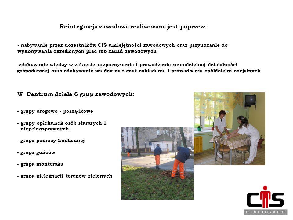 REINTEGRACJA ZAWODOWA Reintegracja zawodowa realizowana jest poprzez: - nabywanie przez uczestników CIS umiejętności zawodowych oraz przyuczanie do wy