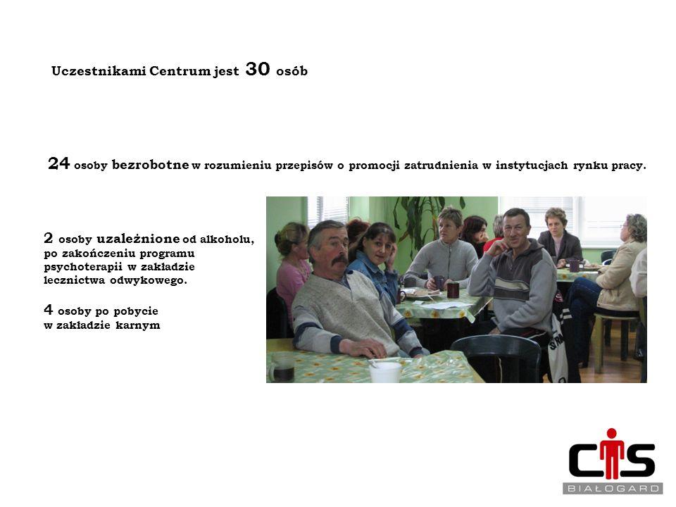 UCZESTNICY CENTRUM INTEGRACJI SPOŁECZNEJ W BIAŁOGARDZIE Uczestnikami Centrum jest 30 osób 24 osoby bezrobotne w rozumieniu przepisów o promocji zatrud