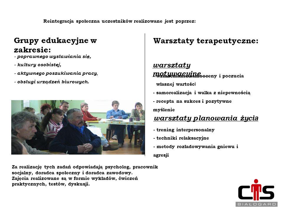 REINTEGRACJA SPOŁECZNA Reintegracja społeczna uczestników realizowane jest poprzez: 12 Grupy edukacyjne w zakresie: - poprawnego wysławiania się, - ku