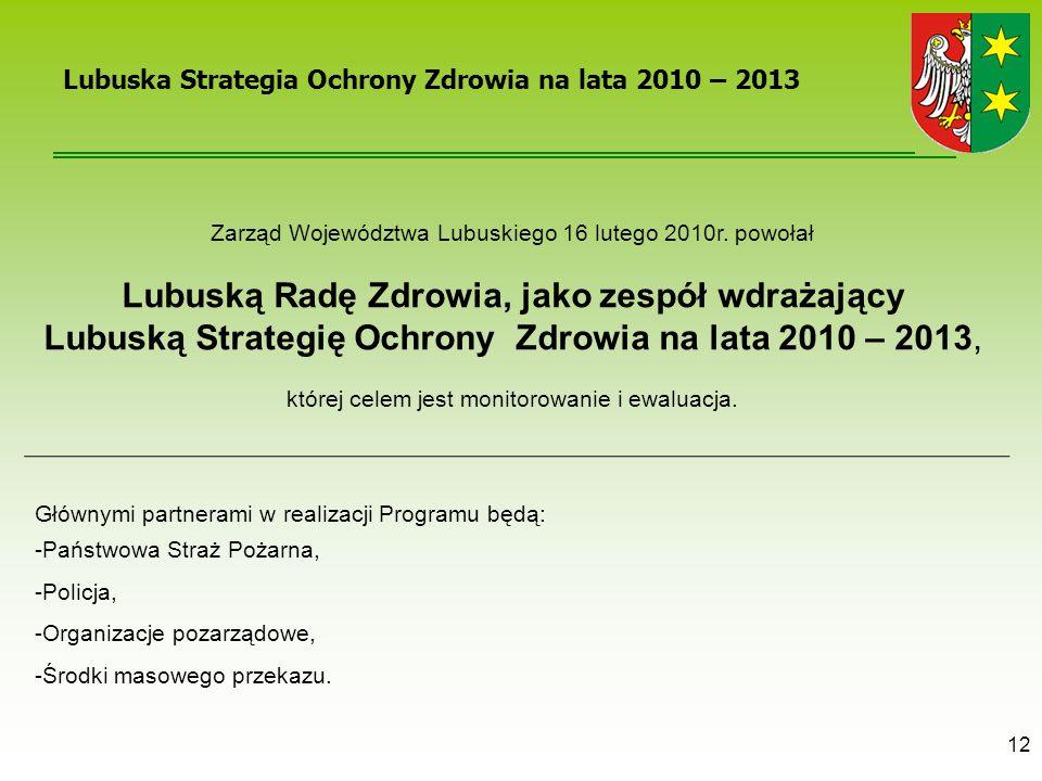 12 Lubuska Strategia Ochrony Zdrowia na lata 2010 – 2013 Zarząd Województwa Lubuskiego 16 lutego 2010r. powołał Lubuską Radę Zdrowia, jako zespół wdra