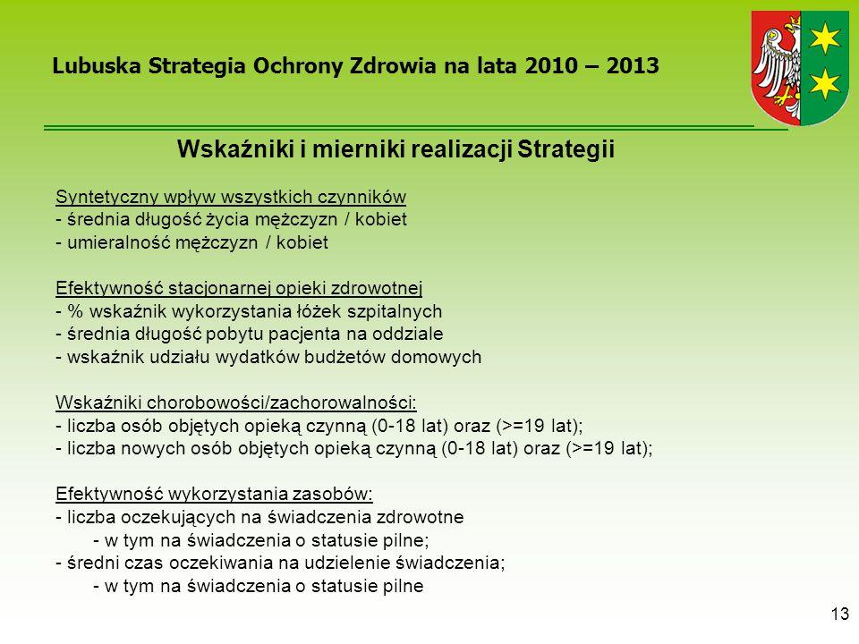 13 Wskaźniki i mierniki realizacji Strategii Syntetyczny wpływ wszystkich czynników - średnia długość życia mężczyzn / kobiet - umieralność mężczyzn /