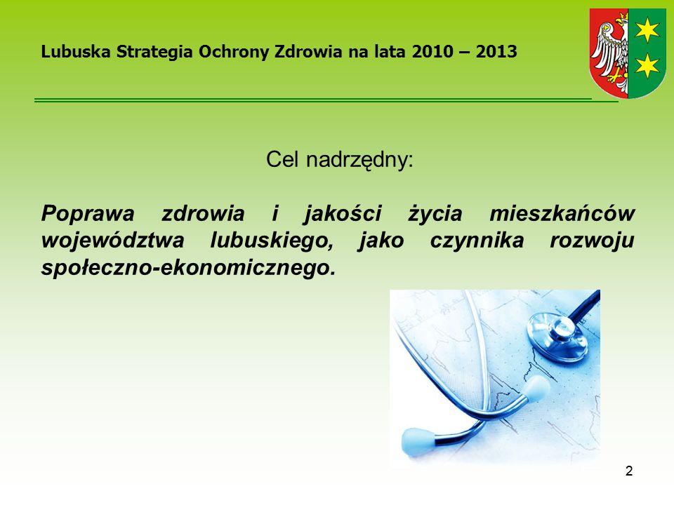 2 Lubuska Strategia Ochrony Zdrowia na lata 2010 – 2013 Cel nadrzędny: Poprawa zdrowia i jakości życia mieszkańców województwa lubuskiego, jako czynni