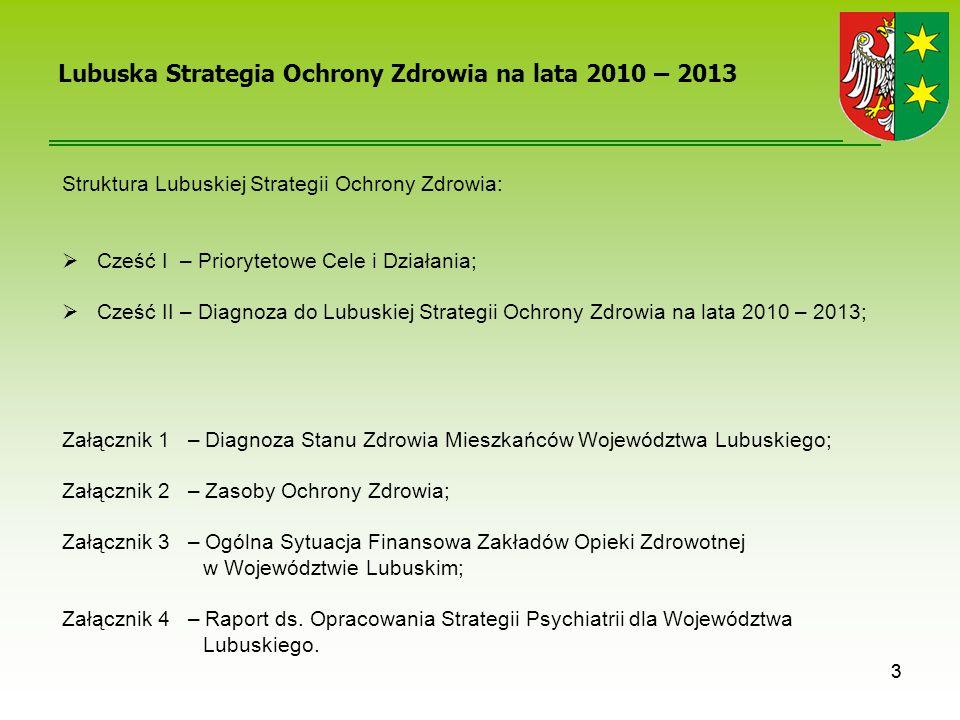 Załącznik 4 – Raport ds. Opracowania Strategii Psychiatrii dla Województwa Lubuskiego. Cześć II – Diagnoza do Lubuskiej Strategii Ochrony Zdrowia na l