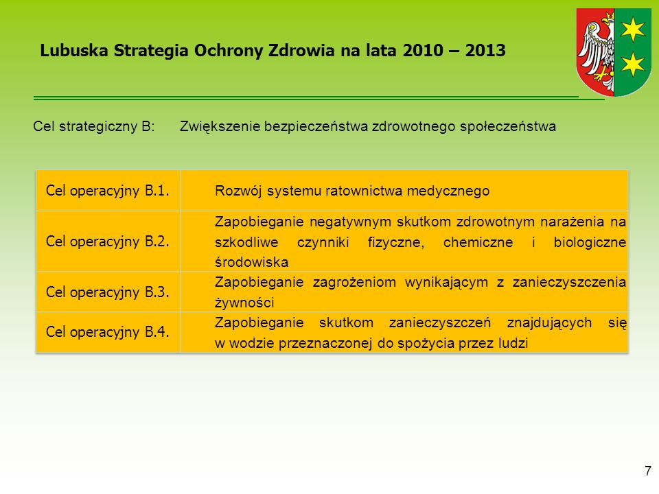 7 Lubuska Strategia Ochrony Zdrowia na lata 2010 – 2013 Cel strategiczny B: Zwiększenie bezpieczeństwa zdrowotnego społeczeństwa
