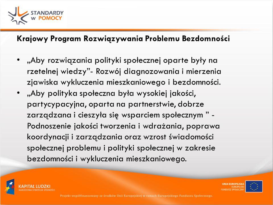 Krajowy Program Rozwiązywania Problemu Bezdomności Aby rozwiązania polityki społecznej oparte były na rzetelnej wiedzy- Rozwój diagnozowania i mierzenia zjawiska wykluczenia mieszkaniowego i bezdomności.