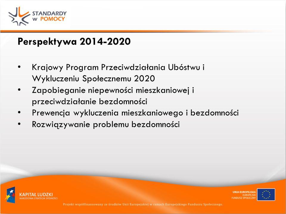 Perspektywa 2014-2020 Krajowy Program Przeciwdziałania Ubóstwu i Wykluczeniu Społecznemu 2020 Zapobieganie niepewności mieszkaniowej i przeciwdziałanie bezdomności Prewencja wykluczenia mieszkaniowego i bezdomności Rozwiązywanie problemu bezdomności