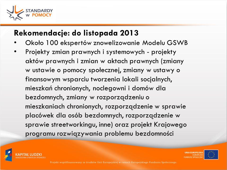 Rekomendacje: do listopada 2013 Około 100 ekspertów znowelizowanie Modelu GSWB Projekty zmian prawnych i systemowych - projekty aktów prawnych i zmian w aktach prawnych (zmiany w ustawie o pomocy społecznej, zmiany w ustawy o finansowym wsparciu tworzenia lokali socjalnych, mieszkań chronionych, noclegowni i domów dla bezdomnych, zmiany w rozporządzeniu o mieszkaniach chronionych, rozporządzenie w sprawie placówek dla osób bezdomnych, rozporządzenie w sprawie streetworkingu, inne) oraz projekt Krajowego programu rozwiązywania problemu bezdomności