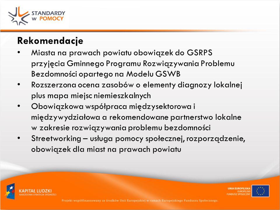 Rekomendacje Miasta na prawach powiatu obowiązek do GSRPS przyjęcia Gminnego Programu Rozwiązywania Problemu Bezdomności opartego na Modelu GSWB Rozszerzona ocena zasobów o elementy diagnozy lokalnej plus mapa miejsc niemieszkalnych Obowiązkowa współpraca międzysektorowa i międzywydziałowa a rekomendowane partnerstwo lokalne w zakresie rozwiązywania problemu bezdomności Streetworking – usługa pomocy społecznej, rozporządzenie, obowiązek dla miast na prawach powiatu