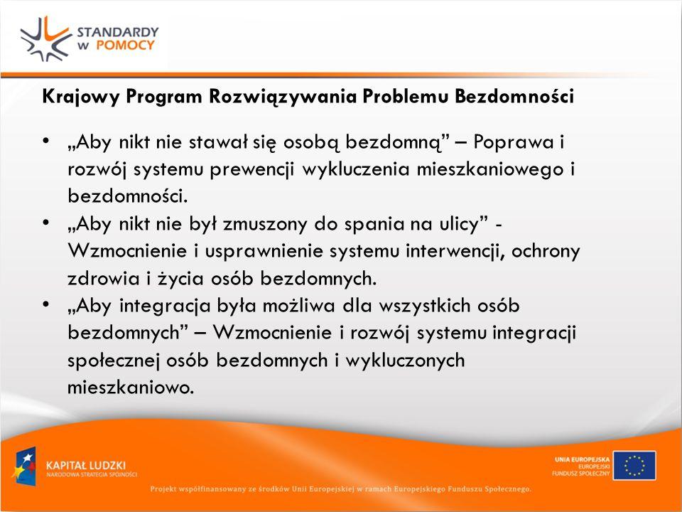 Krajowy Program Rozwiązywania Problemu Bezdomności Aby nikt nie stawał się osobą bezdomną – Poprawa i rozwój systemu prewencji wykluczenia mieszkaniowego i bezdomności.