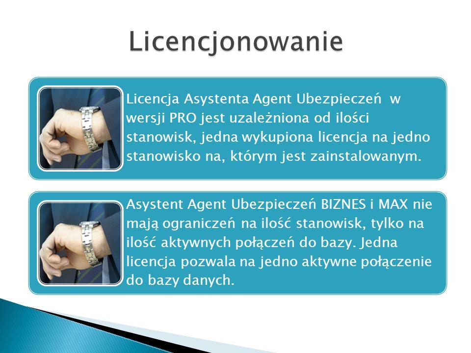 Licencja Asystenta Agent Ubezpieczeń w wersji PRO jest uzależniona od ilości stanowisk, jedna wykupiona licencja na jedno stanowisko na, którym jest z