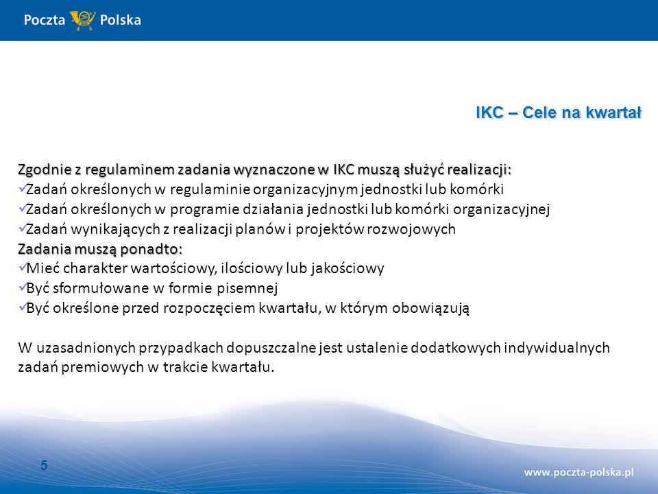 6 IKC – Cele na kwartał Indywidualna Karta Celów (IKC) na III kwartał 2012 roku (miesiące: lipiec, sierpień, wrzesień) Imię i nazwisko: Stanowisko: Data zatrudnienia (nowy pracownik) lub data przeniesienia do innej komórki: Jednostka: Lp.CeleMiernik100%OkresWaga Realizacja w tys.zł/szt.
