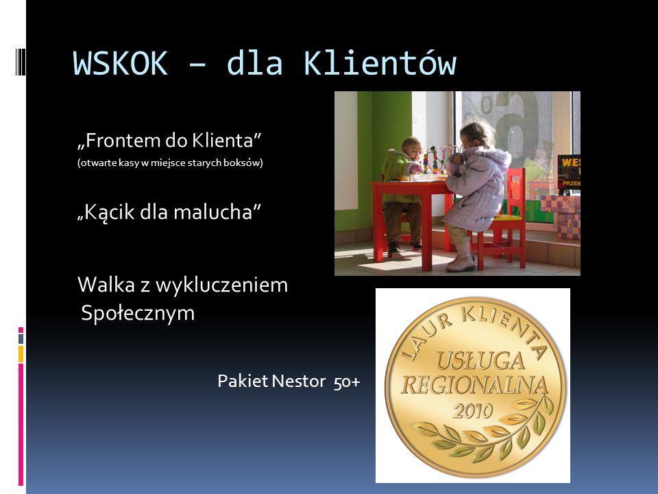 WSKOK – dla Klientów Frontem do Klienta (otwarte kasy w miejsce starych boksów) Kącik dla malucha Walka z wykluczeniem Społecznym Pakiet Nestor 50+