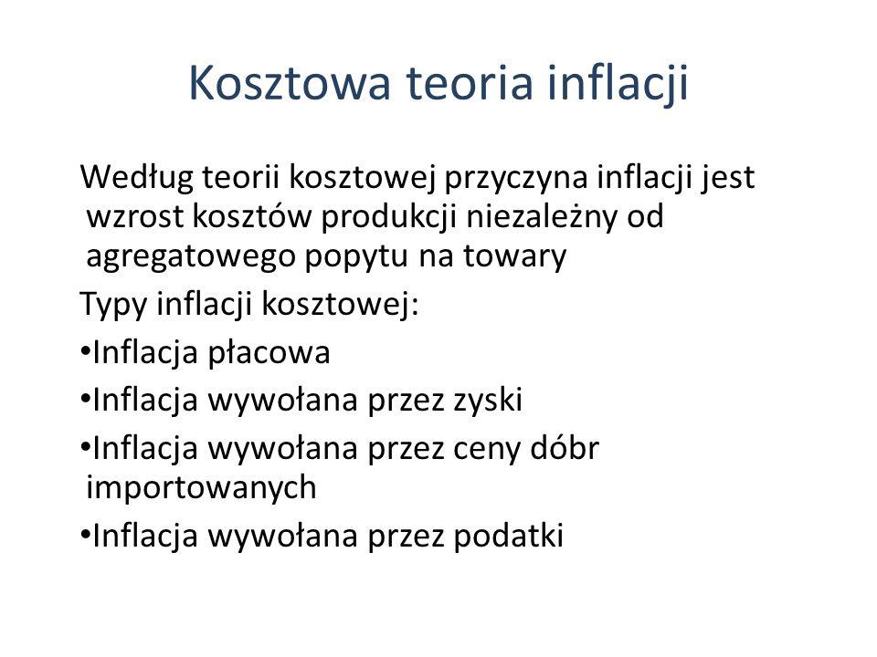 Kosztowa teoria inflacji Według teorii kosztowej przyczyna inflacji jest wzrost kosztów produkcji niezależny od agregatowego popytu na towary Typy inflacji kosztowej: Inflacja płacowa Inflacja wywołana przez zyski Inflacja wywołana przez ceny dóbr importowanych Inflacja wywołana przez podatki