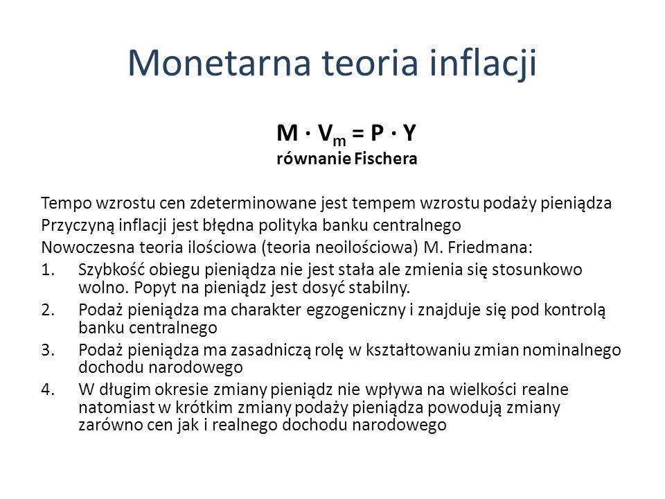 Monetarna teoria inflacji M V m = P Y równanie Fischera Tempo wzrostu cen zdeterminowane jest tempem wzrostu podaży pieniądza Przyczyną inflacji jest błędna polityka banku centralnego Nowoczesna teoria ilościowa (teoria neoilościowa) M.