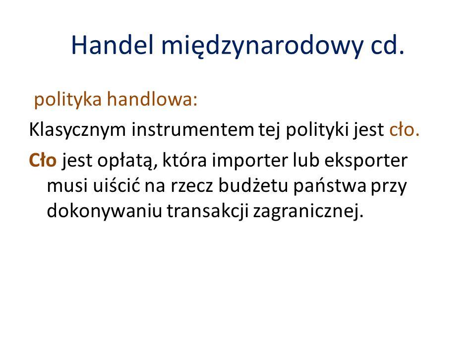 Handel międzynarodowy cd.polityka handlowa: Klasycznym instrumentem tej polityki jest cło.