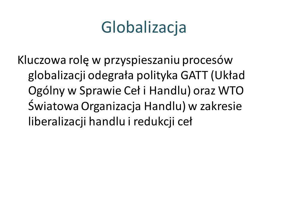 Globalizacja Kluczowa rolę w przyspieszaniu procesów globalizacji odegrała polityka GATT (Układ Ogólny w Sprawie Ceł i Handlu) oraz WTO Światowa Organizacja Handlu) w zakresie liberalizacji handlu i redukcji ceł
