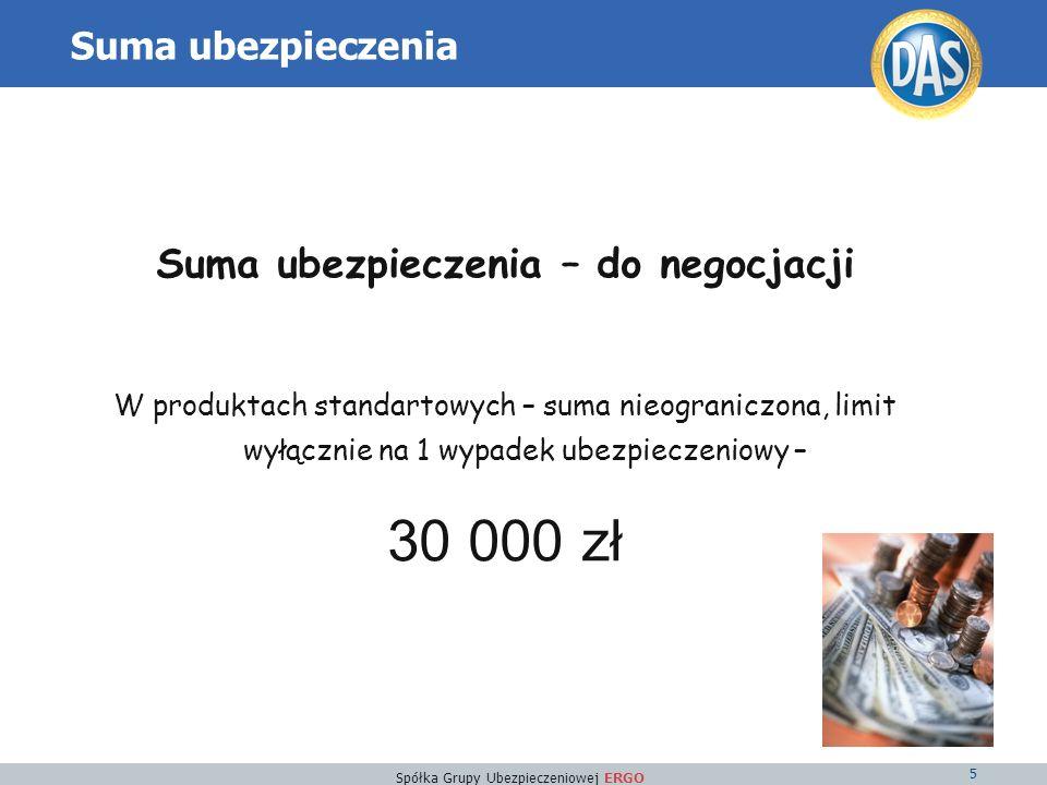 Spółka Grupy Ubezpieczeniowej ERGO 5 Suma ubezpieczenia Suma ubezpieczenia – do negocjacji W produktach standartowych – suma nieograniczona, limit wyłącznie na 1 wypadek ubezpieczeniowy – 30 000 zł