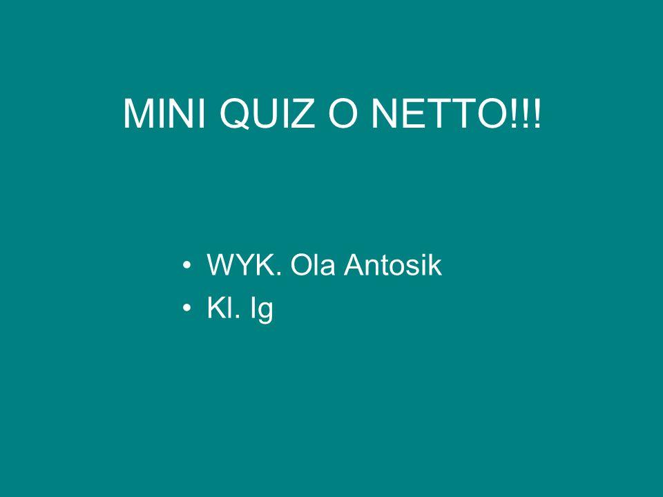 MINI QUIZ O NETTO!!! WYK. Ola Antosik Kl. Ig