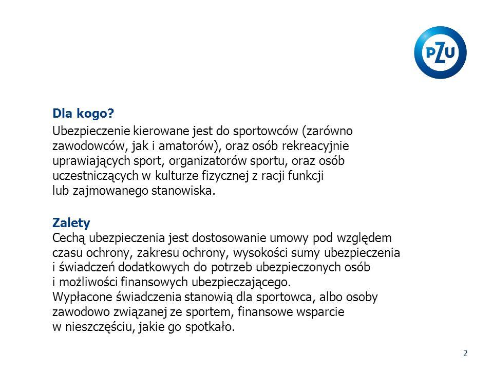2 Dla kogo? Ubezpieczenie kierowane jest do sportowców (zarówno zawodowców, jak i amatorów), oraz osób rekreacyjnie uprawiających sport, organizatorów
