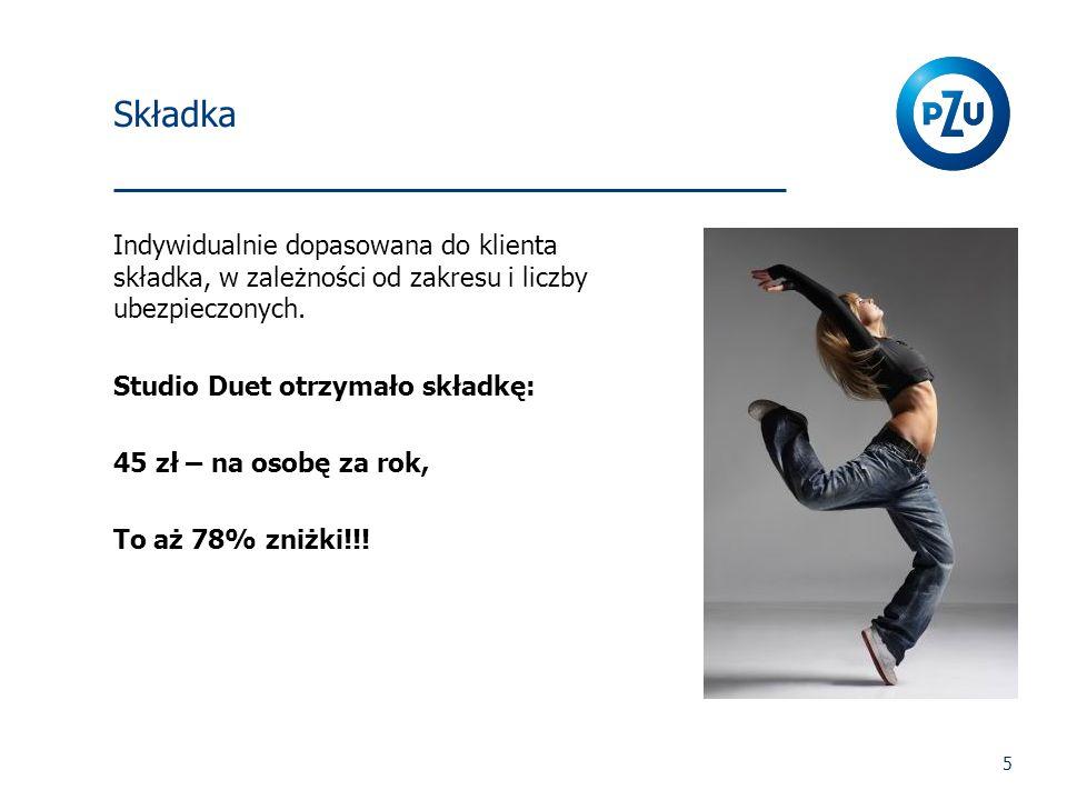 5 Składka Indywidualnie dopasowana do klienta składka, w zależności od zakresu i liczby ubezpieczonych. Studio Duet otrzymało składkę: 45 zł – na osob