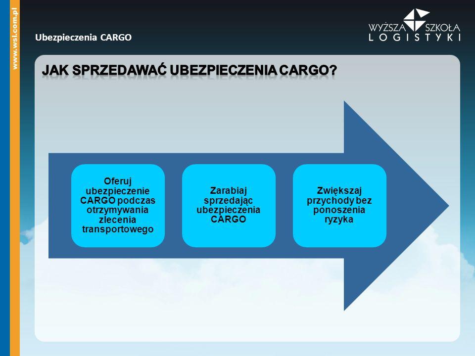 Ubezpieczenia CARGO Oferuj ubezpieczenie CARGO podczas otrzymywania zlecenia transportowego Zarabiaj sprzedając ubezpieczenia CARGO Zwiększaj przychod