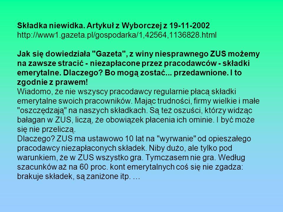 Składka niewidka. Artykuł z Wyborczej z 19-11-2002 http://www1.gazeta.pl/gospodarka/1,42564,1136828.html Jak się dowiedziała