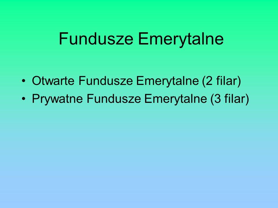 Fundusze Emerytalne Otwarte Fundusze Emerytalne (2 filar) Prywatne Fundusze Emerytalne (3 filar)