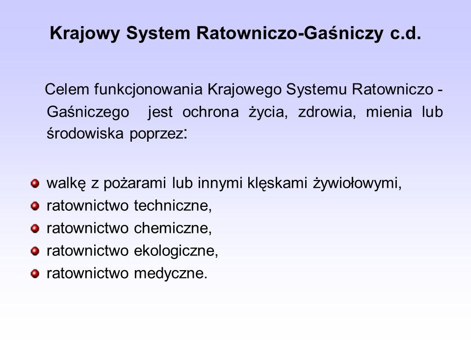 Krajowy System Ratowniczo-Gaśniczy c.d. Celem funkcjonowania Krajowego Systemu Ratowniczo - Gaśniczego jest ochrona życia, zdrowia, mienia lub środowi