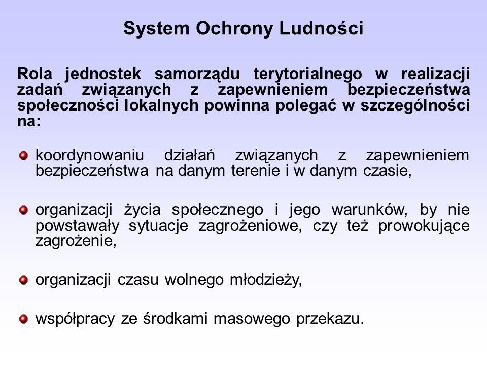 System Ochrony Ludności Rola jednostek samorządu terytorialnego w realizacji zadań związanych z zapewnieniem bezpieczeństwa społeczności lokalnych pow