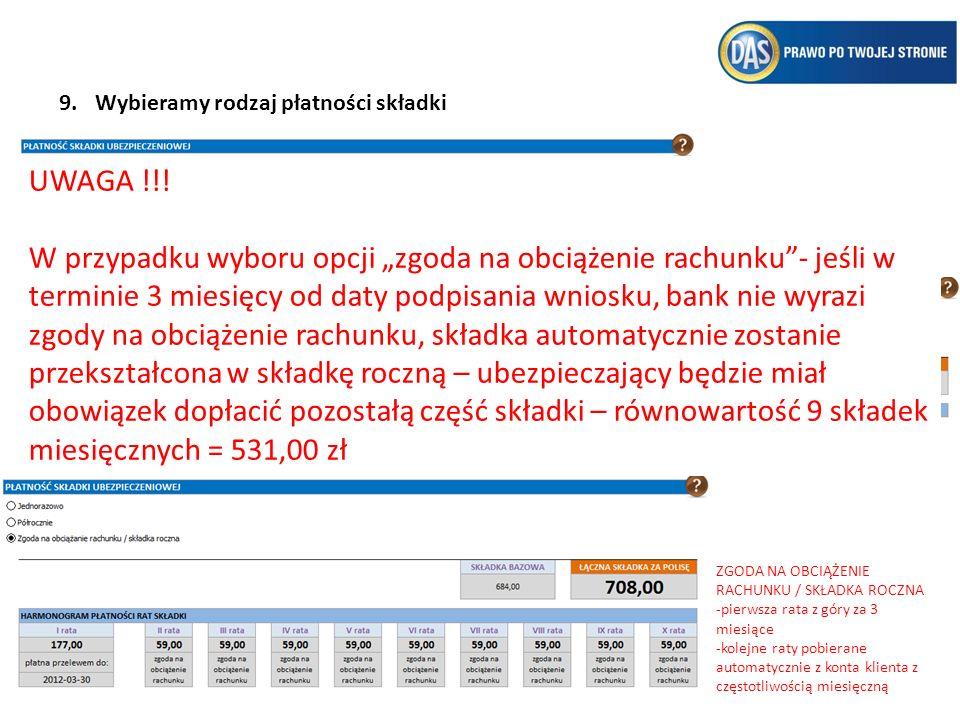 10.Zaznaczamy oświadczenia 11.Mamy możliwość wydruku Ogólnych Warunków Ubezpieczenia, które Ubezpieczający jest zobowiązany otrzymać oraz zapoznać się z nimi przed podpisaniem Umowy