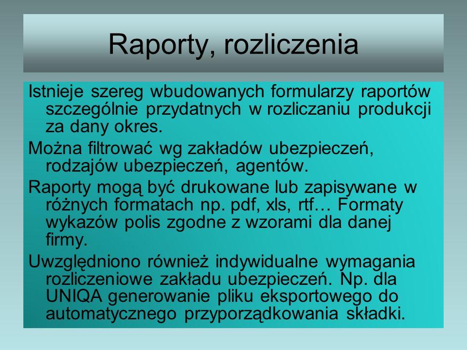 Raporty, rozliczenia Istnieje szereg wbudowanych formularzy raportów szczególnie przydatnych w rozliczaniu produkcji za dany okres. Można filtrować wg